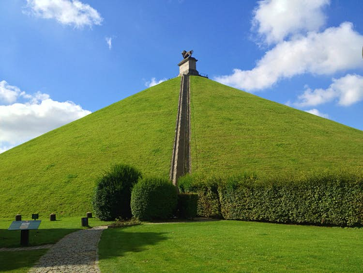 Lion Mound at the Waterloo Battlefield. Image by Tim Richards/Lonely Planet.