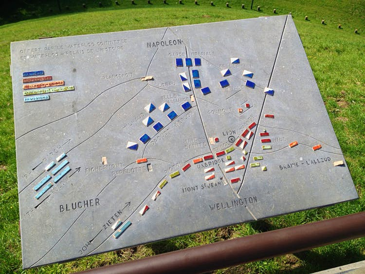 Map of the Waterloo Battlefield at the Lion Mound. Image by Tim Richards/Lonely Planet.