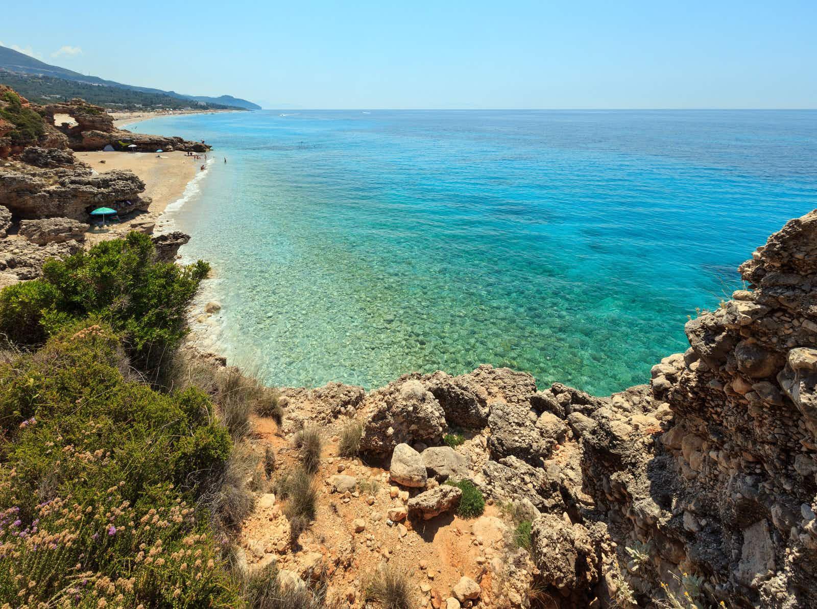 Sandy Drymades beach during summer, on the Ionian Sea, Albania.