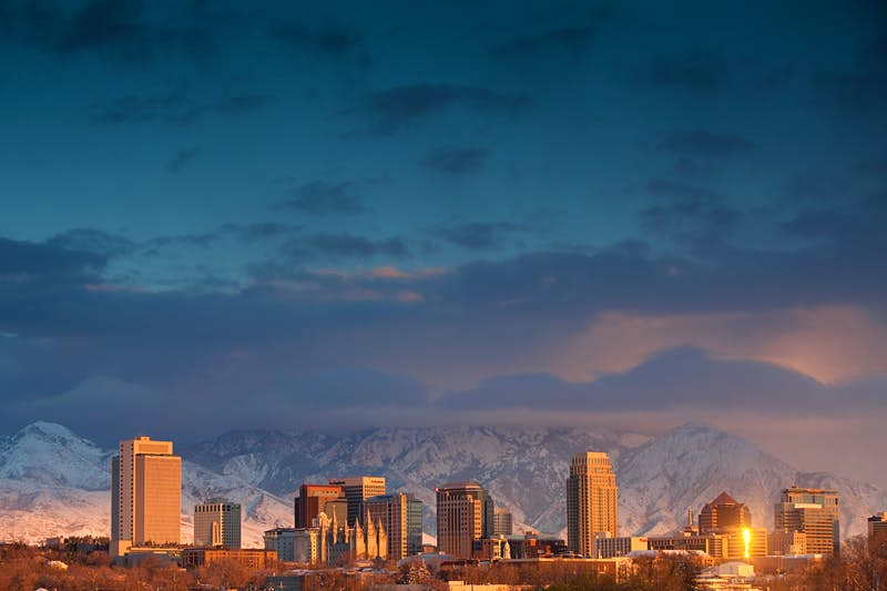 Salt Lake City's proximity to the Wasatch and Oquirrh mountain ranges makes it a perfect winter destination, but there's plenty to do downtown too. Image by Joel Addams / Aurora / Getty