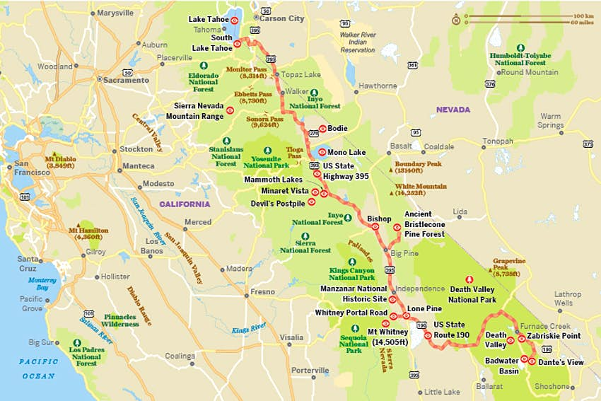 Map Us Highway 395 California's Hwy 395 is a road trip of superlatives   Lonely Planet