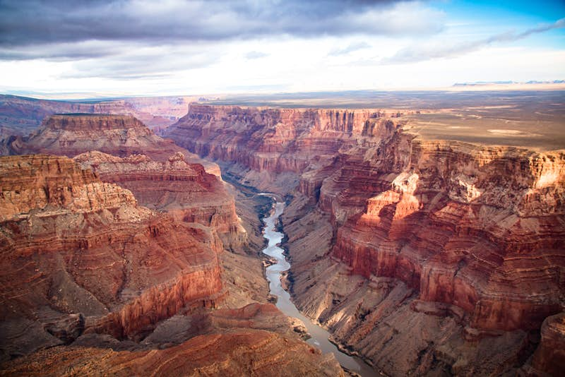 A wide angle of the Grand Canyon, with the Rio Grande flowing below; the USA's top 10 natural wonders