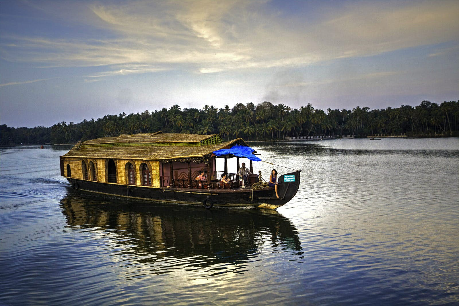 A classical houseboat on the backwaters of Kerala in India