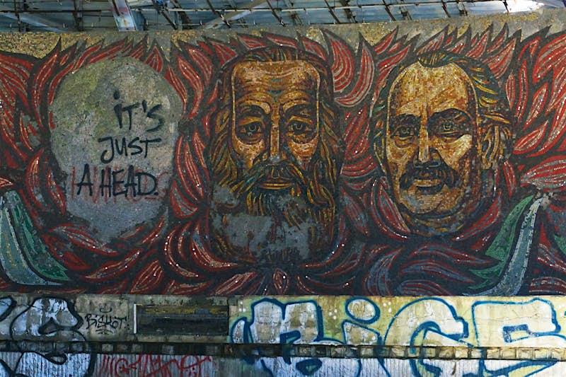 Huge mural mosaics inside the Buzludzha monument glorify communist leaders © Anita Isalska / Lonely Planet