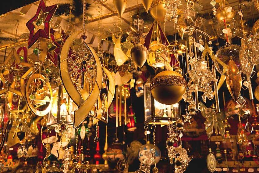 Golden glass and crystal christmas ornaments on sale