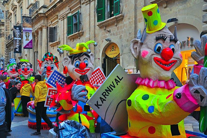 A carnival procession in Valletta, Malta's tiny capital