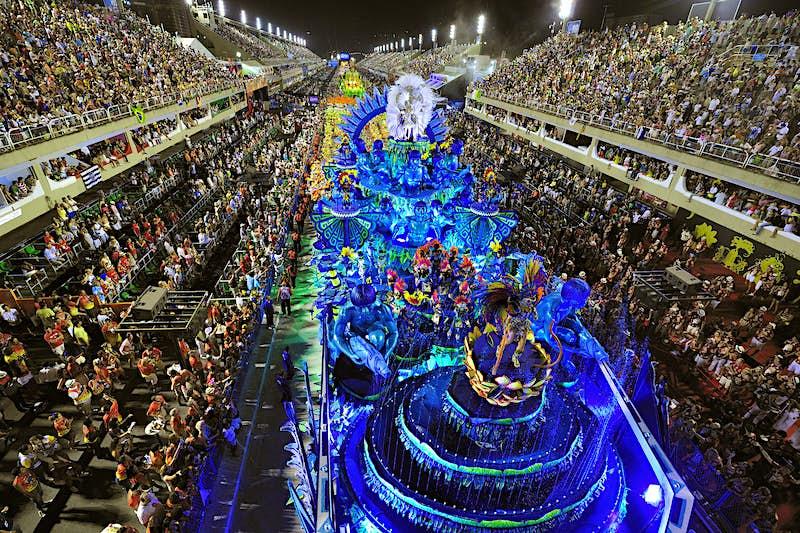 A samba school parading in Rio's Sambadromo