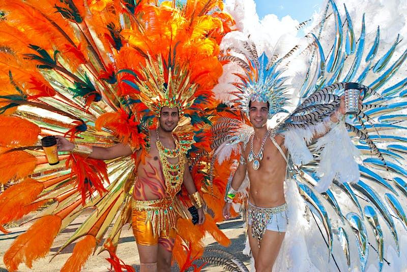 Masqueraders taking part in Trinidad & Tobago's carnival in Port of Spain