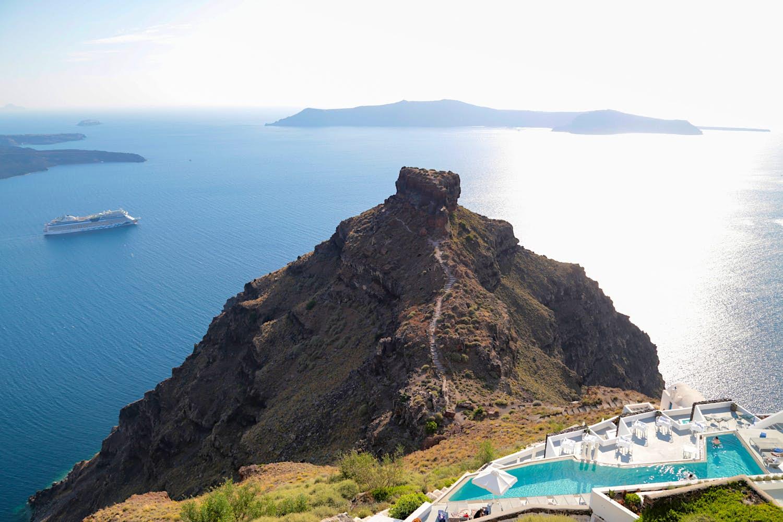 Swimming pool with caldera views in Imerovigli village, Santorini.