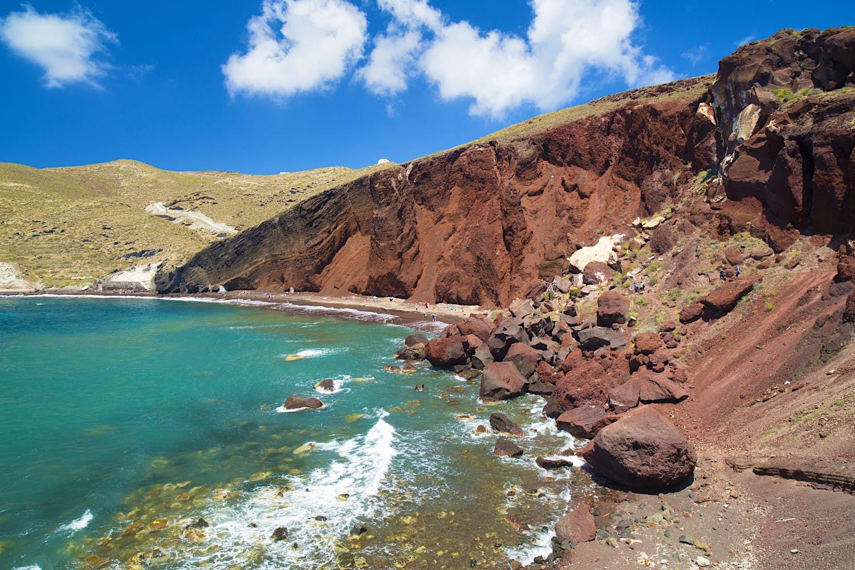 Red Beach, a red, rocky shoreline on Santorini's south coast.