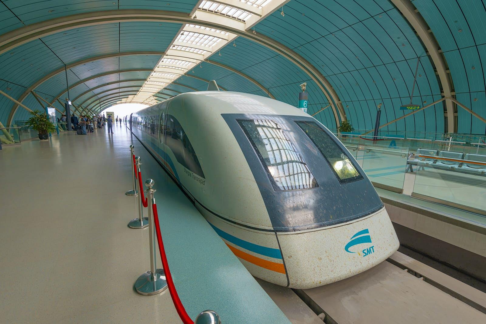 China, Shanghai, Pudong District, Longyang Road Station, Maglev Train