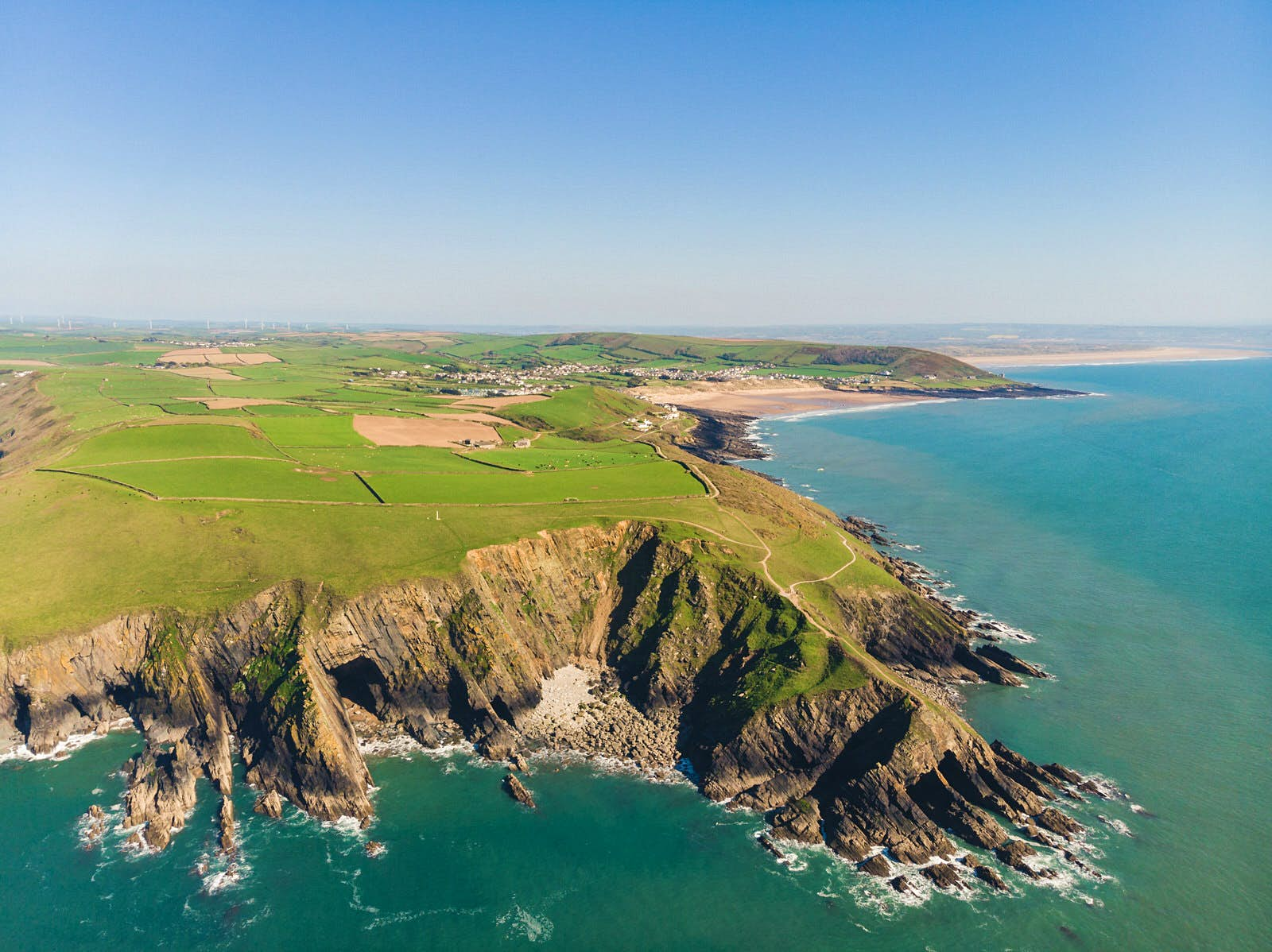 The Baggy Point headland in England jutting out into the Celtic Sea