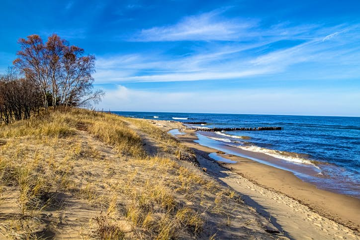 The wild and remote coast of Lake Superior at Whitefish Point in Michigan's Upper Peninsula. It was off this peaceful coast that the ill fated Edmund Fitzgerald sank in a Lake Superior storm.