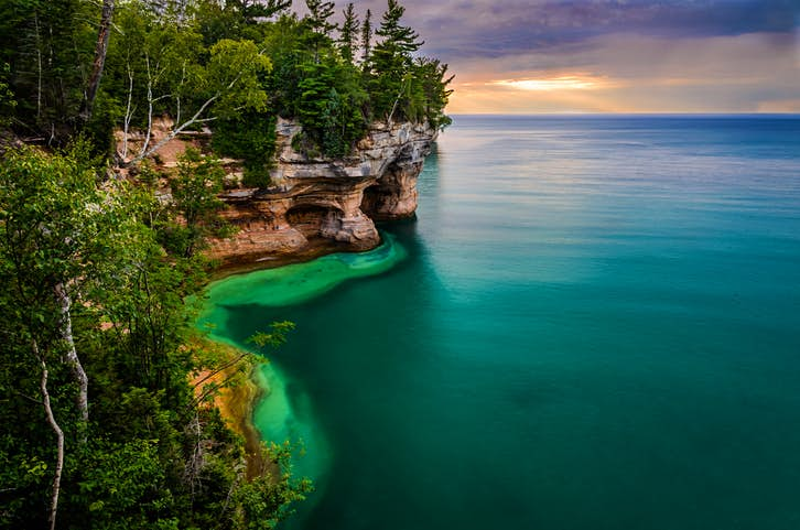 An evening view of Pictured Rocks National Seashore in Michigan's Upper Peninsula