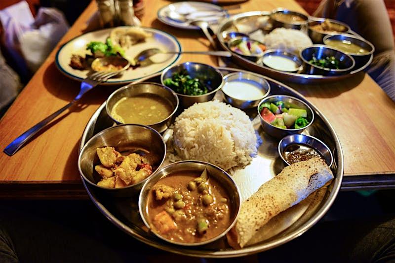 An upscale plate of daal bhaat in Kathmandu © Maya Karkalicheva / Getty Images