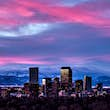 Denver skyline with the Rocky Mountains in the background