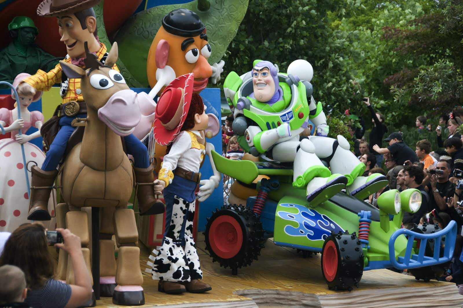 Characters from Toy Story including Buzz Lightyear, Jessie, Bullseye and Mr Potato Head