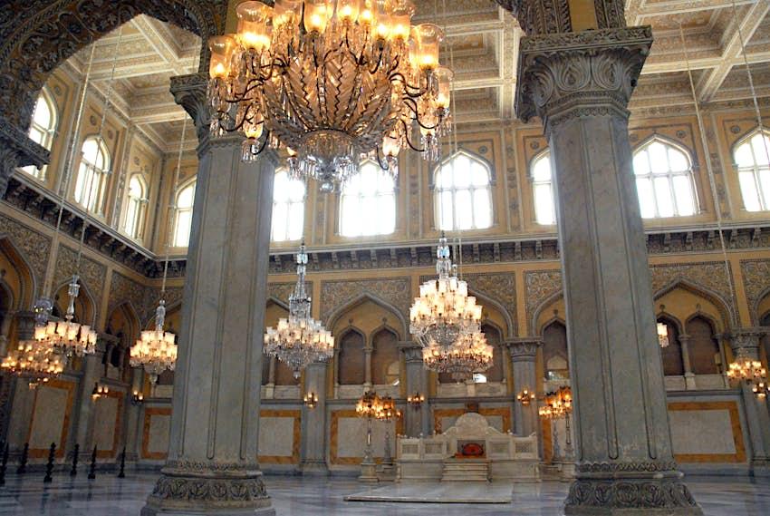 Belgian chandeliers hanging in the Chowmahalla's Darbar Hall