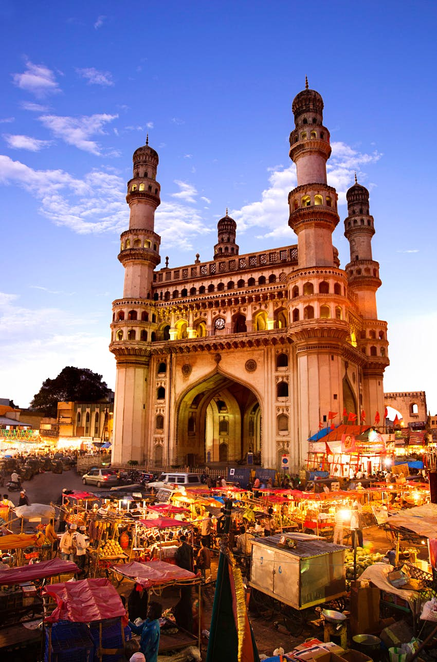 Market stalls surrounding the Charminar in Hyderabad's old city