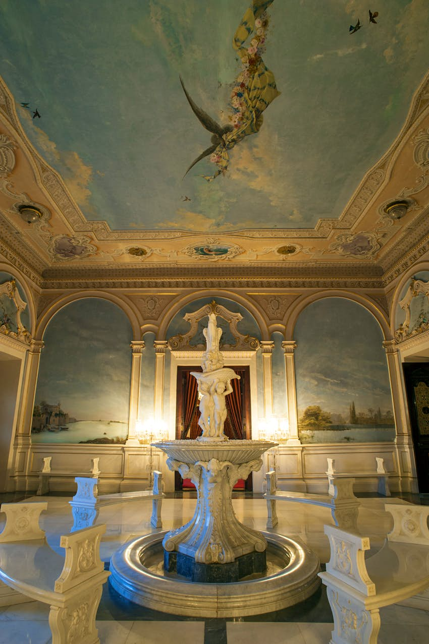 Classical murals in the entrance hall at the Falaknuma