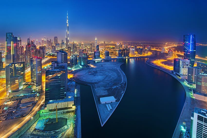 A nighttime aerial shot of Business Bay, Dubai's latest hotspot © Enyo Manzano Photography / Getty Images