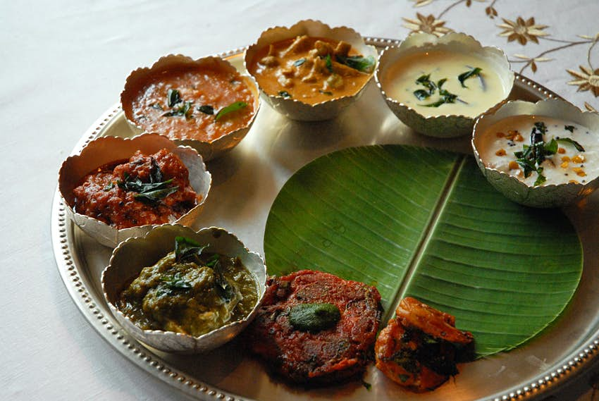 An Hyderbadi thali (plate meal) on a silver platter