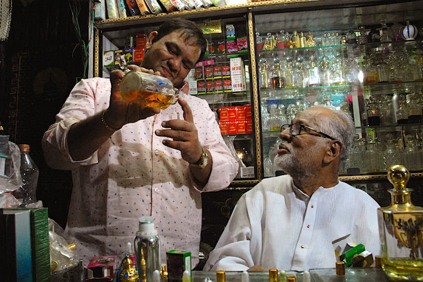 Ittar-wallahs mix fragrances in the old city of Hyderabad