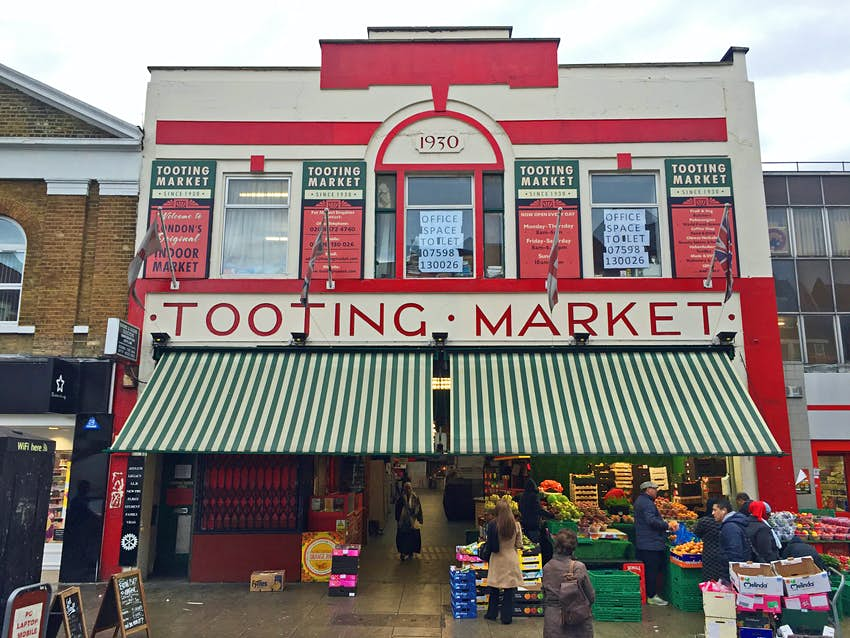 The exterior of Tooting Market, a London shopping institution © Will Jones / Lonely Planet