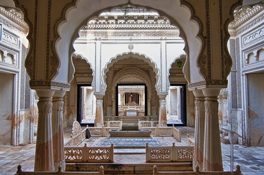 Ornate marble archways at the Paigah Tombs