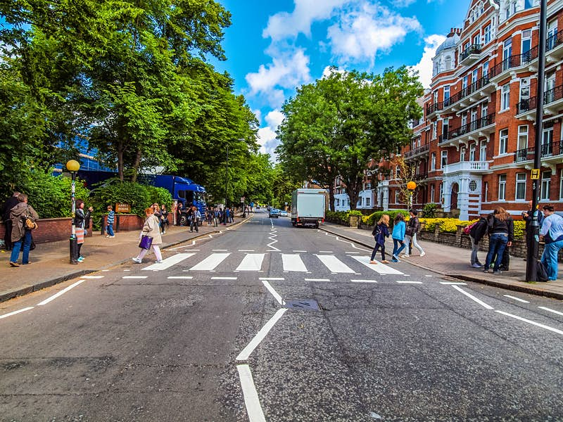 The iconic Abbey Road crossing in London featured on The Beatles' Abbey Road album