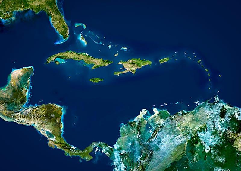 Features - Caribbean Islands, True Colour Satellite Image