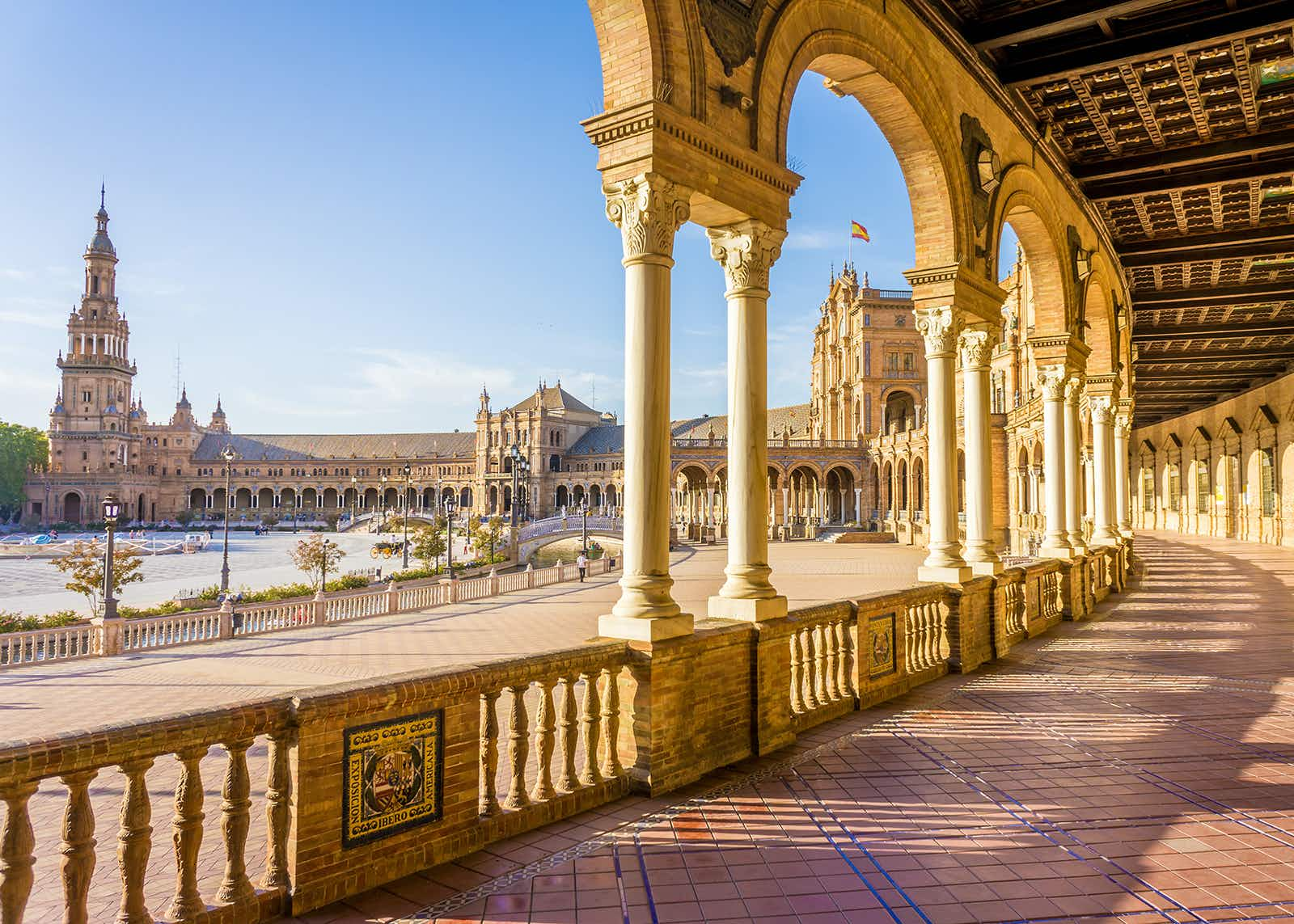 Spain Square (Plaza de Espana), Seville, Spain, built on 1928, it is one example of the Regionalism Architecture mixing Renaissance and Moorish styles.; Shutterstock ID 363034142; Your name (First / Last): Ceri James; GL account no.: 56530/Global Publishing-WIP/CeriJames/BestinTravel2018; Netsuite department name: 56530/Global Publishing-WIP/CeriJames/BestinTravel2018; Full Product or Project name including edition: 56530/Global Publishing-WIP/CeriJames/BestinTravel2018