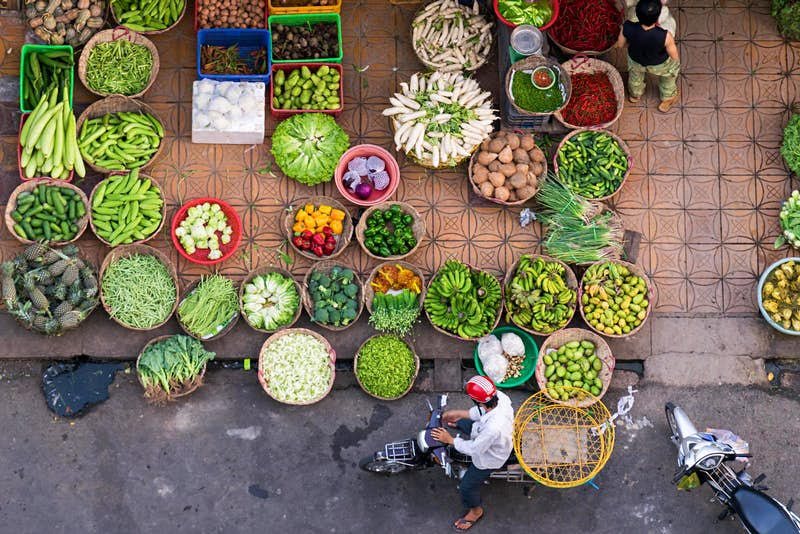 Overhead view of street market in Can Tho, Vietnam