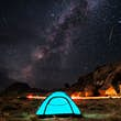 Milky Way, stars and a falling star over a blue tent