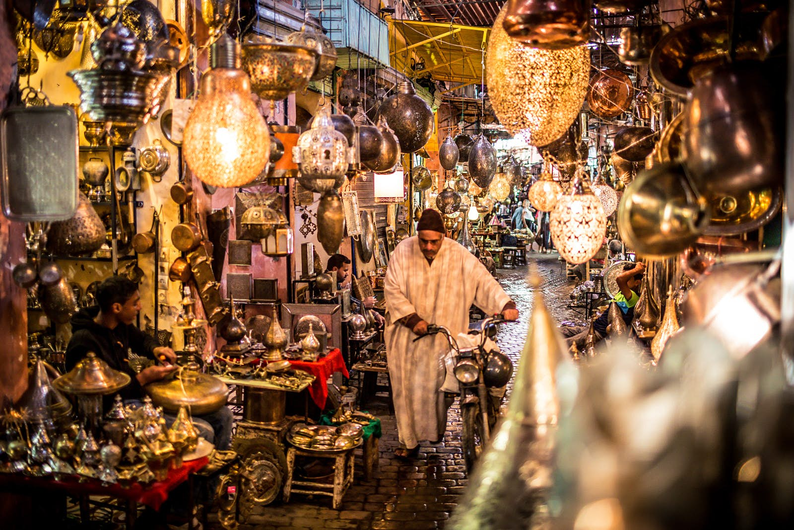Lantern lights for sale in the old market in Essaouira, Morocco. Image by Gavin Quirke / Getty Images