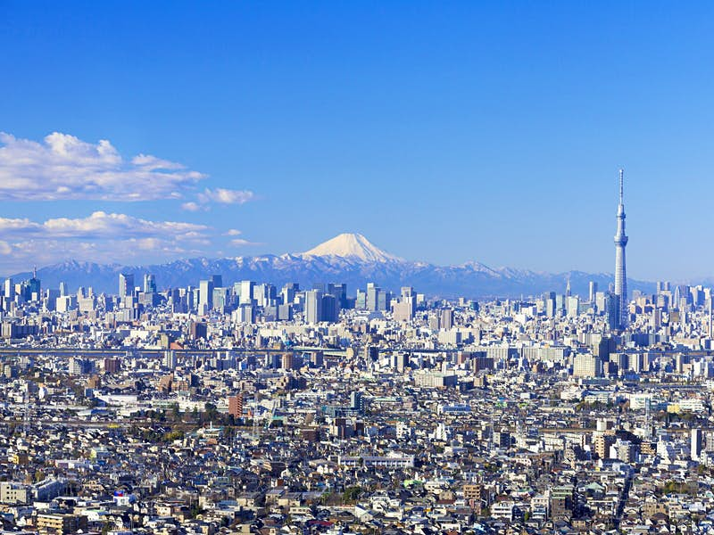 View looking over the city of Tokyo with snow-capped Mt Fuji in the background