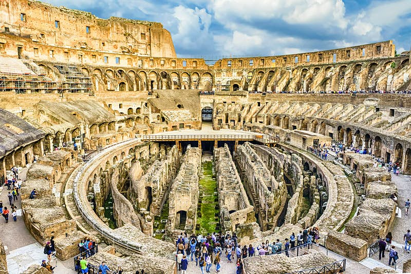 Interior of Rome's Colosseum with crowds of tourists