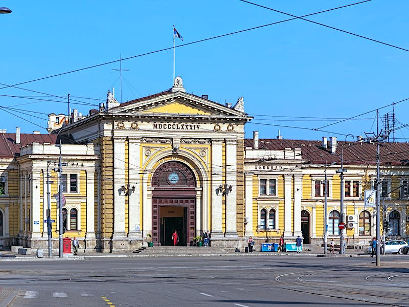 External view of Belgrade's weathered train station