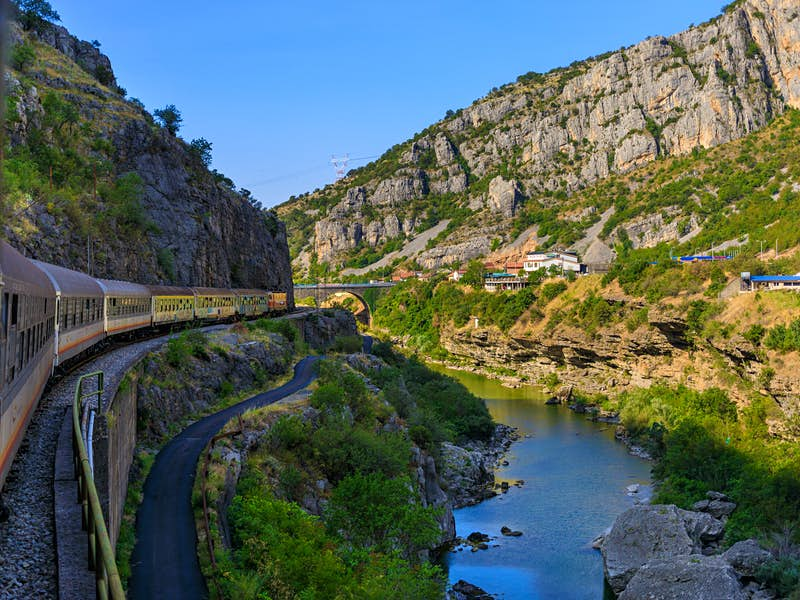 The view from the Belgrade-Bar train as it passes through Montenegro's mountains