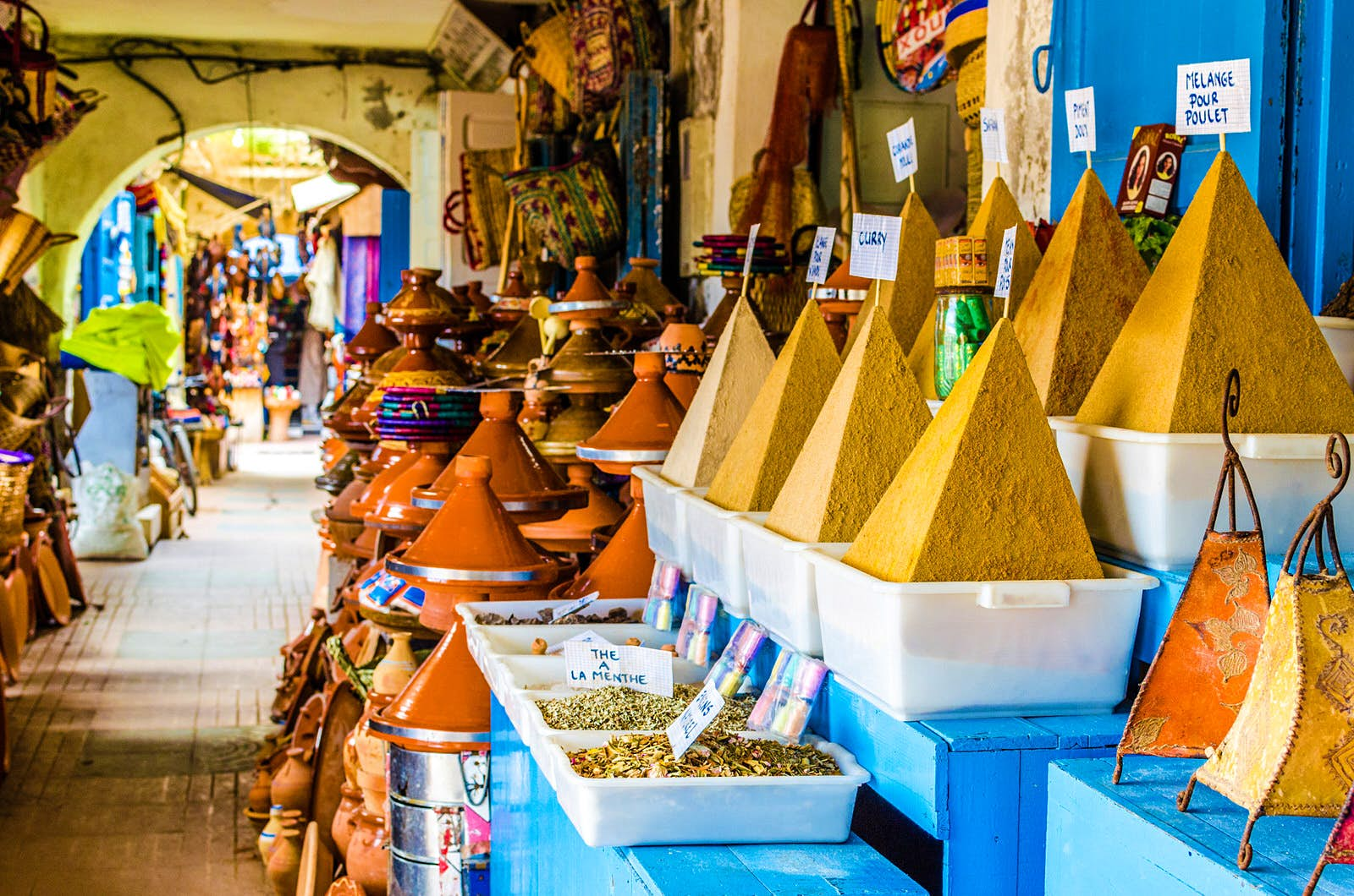 Pyramids of spices, Essaouira, Morocco. Image by Federica Gentile / Getty Images