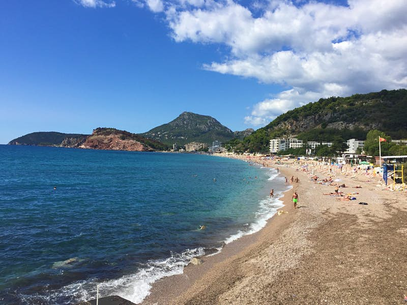 Beach views in Sutomore, the last stop before the train reaches the port of Bar