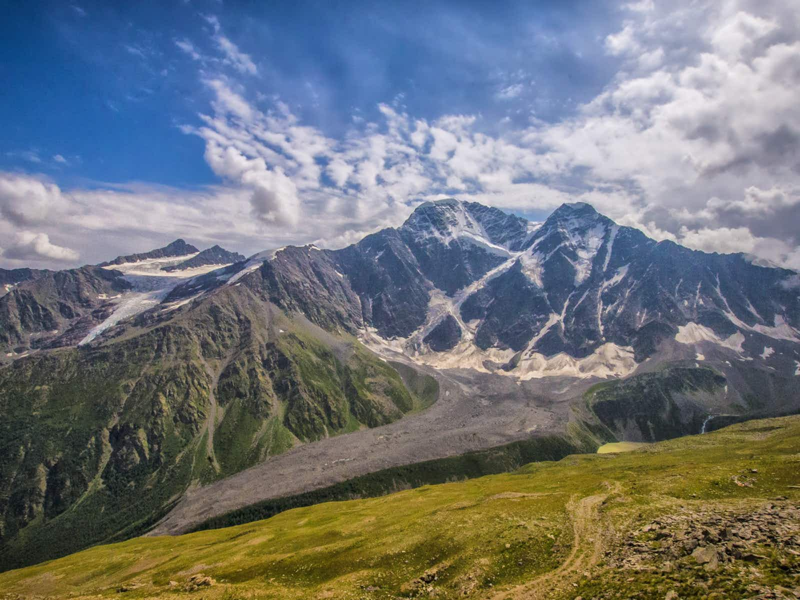The view across the Baksan Valley from an acclimatisation trek on Cheget Peak © Peter Watson / Lonely Planet