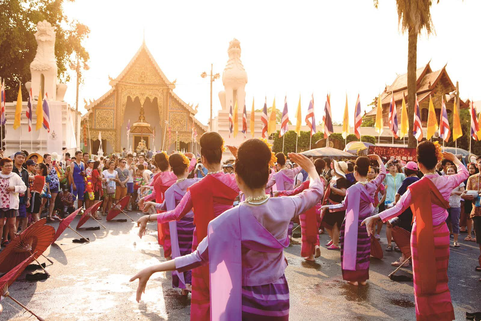 Songkran Festival parade dancers.