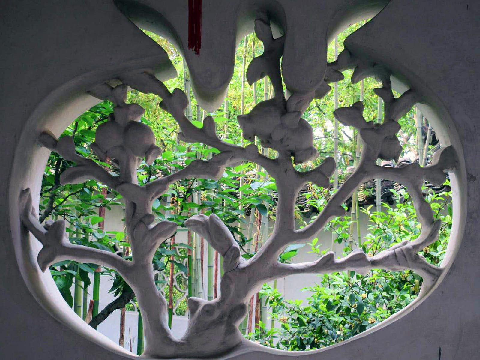 A white-washed window with delicate grating shaped like a tree looks out onto trees in the garden. Suzhou's classical gardens have details like this window that create picturesque scenes as you wander through © Tess Humphrys / Lonely Planet