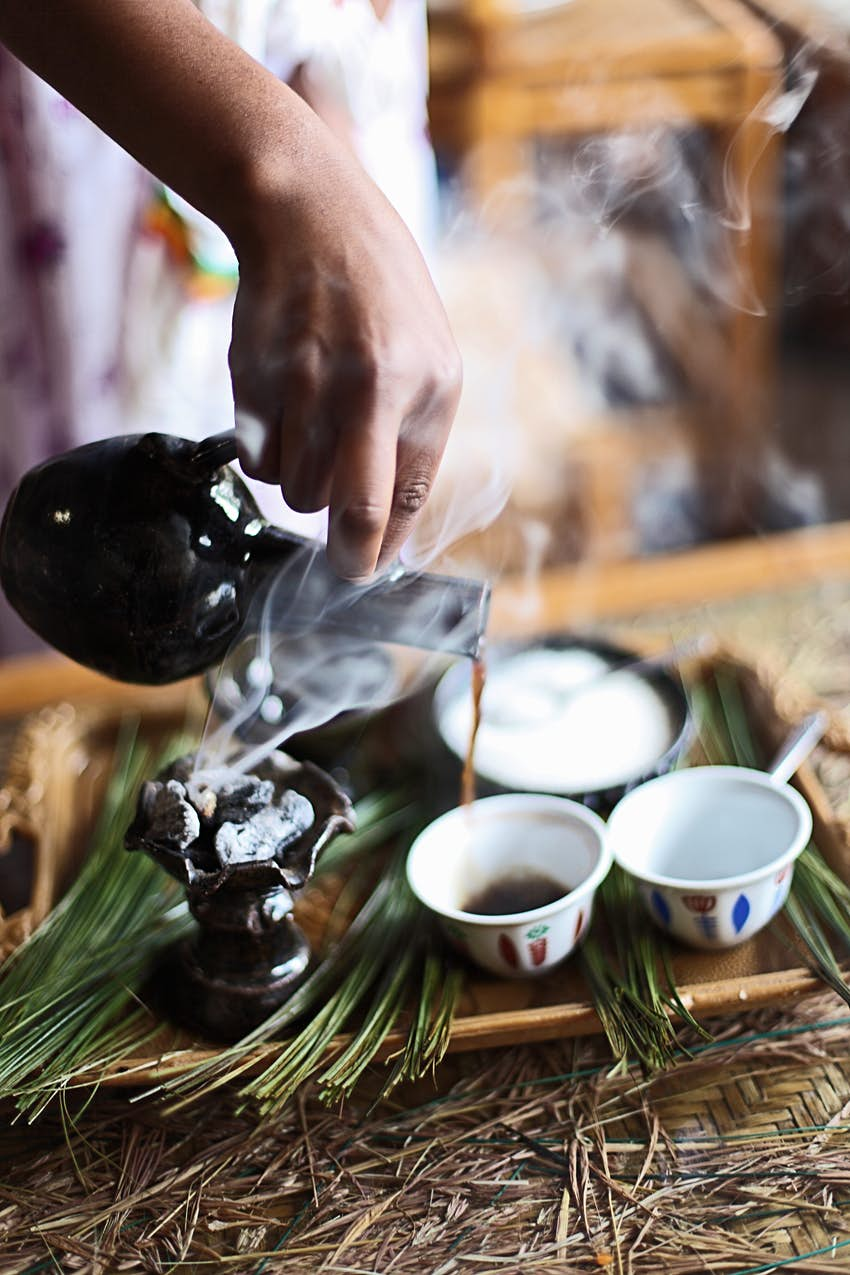 A coffee ritual being performed in Gondor, Ethiopia