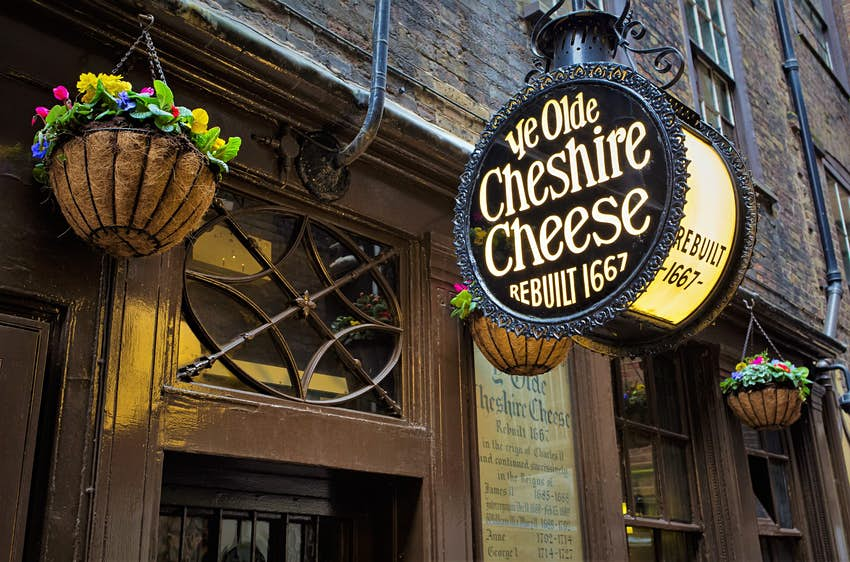 Exterior signage of Ye Olde Cheshire Cheese pub in London