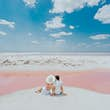 Exploring the pink waters of Las Coloradas with the husband.