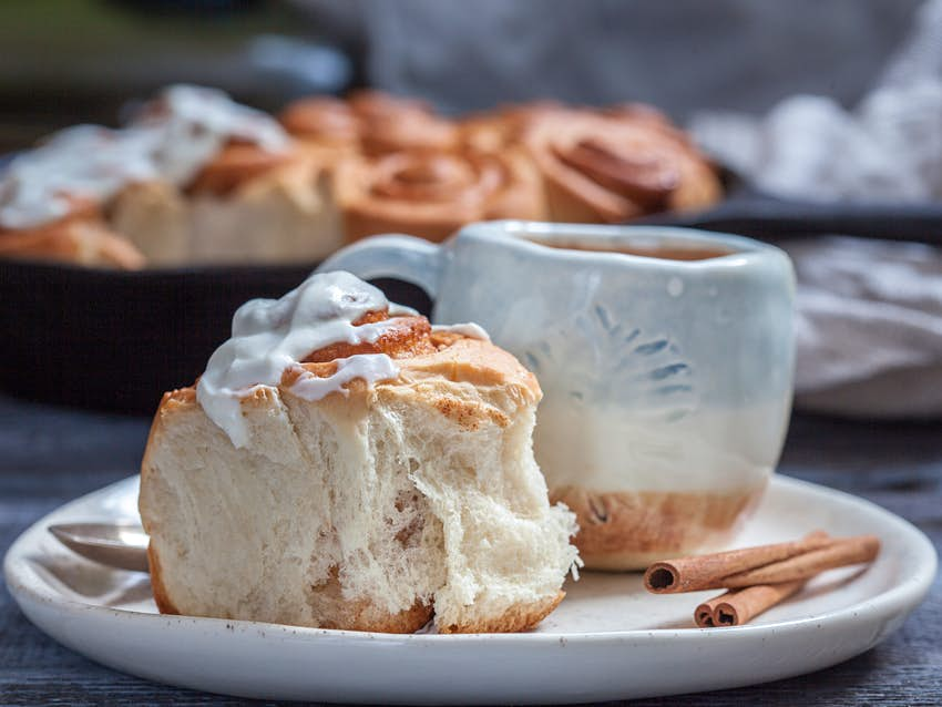A cinnamon roll and a cup of coffee in Sweden