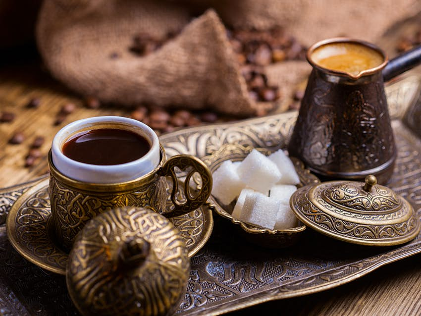 A traditional Turkish coffee set