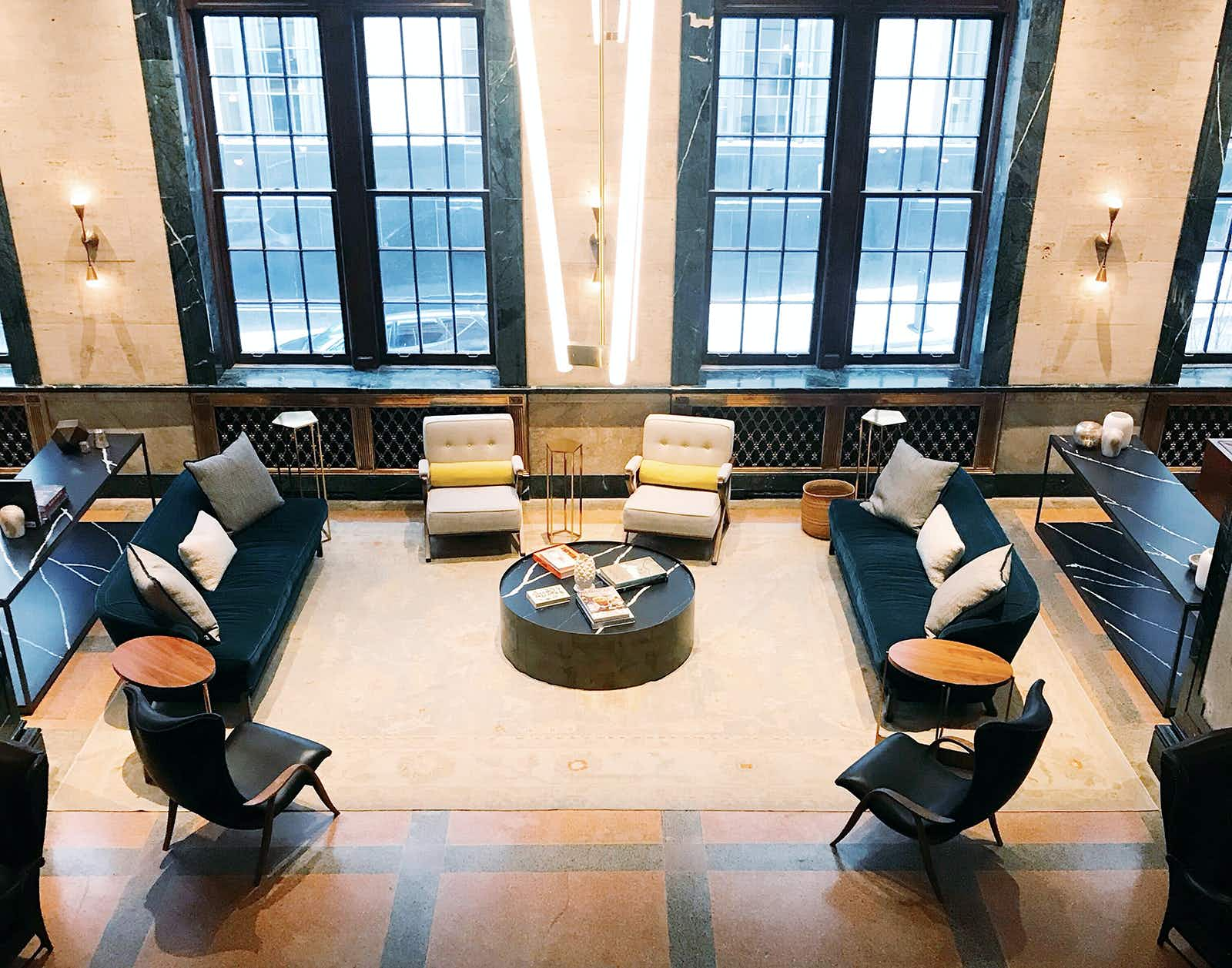 The well-appointed lobby of the Noelle hotel is a hangout for visitors and locals © Mikki Brammer / Lonely Planet